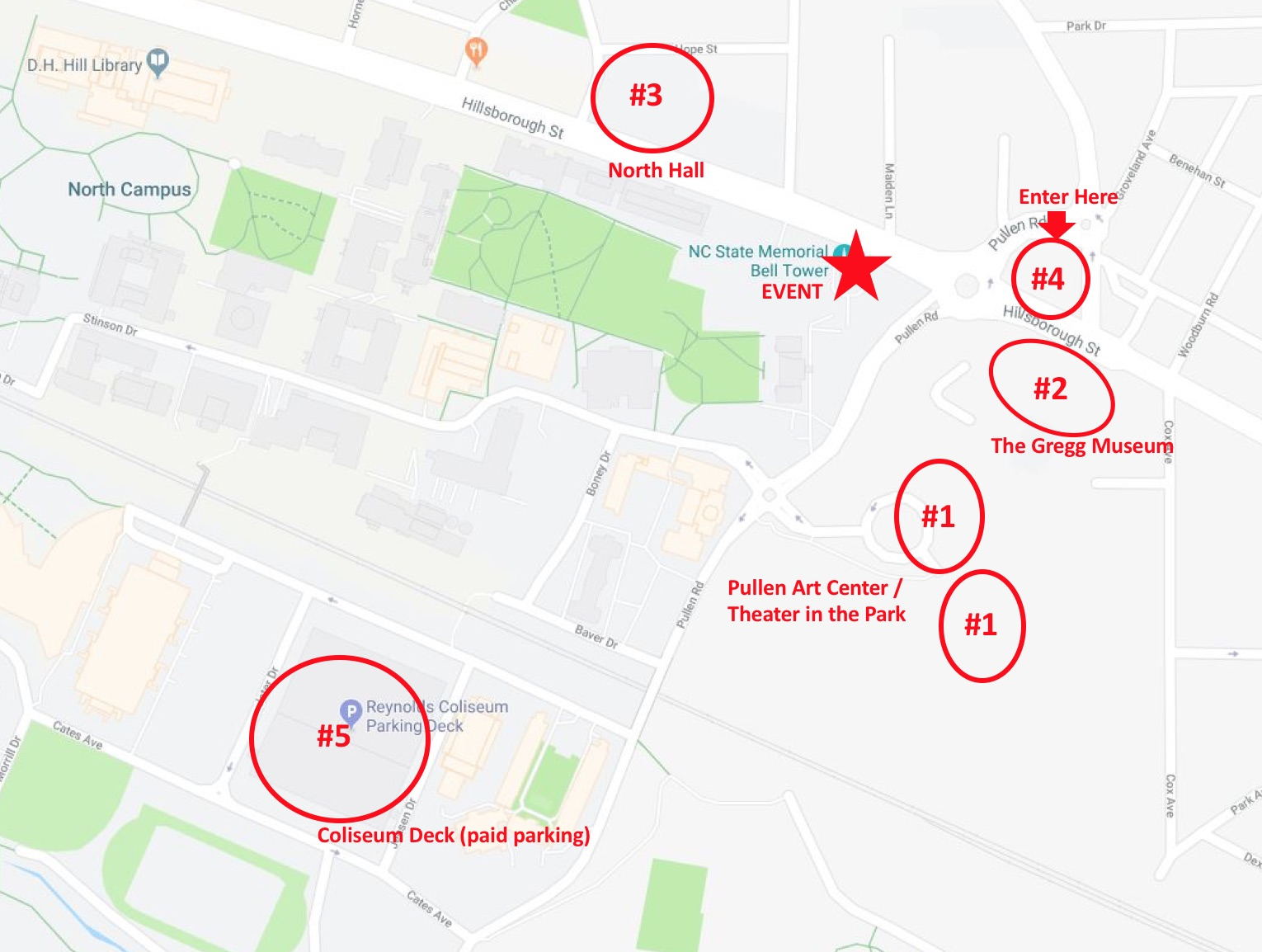 Map of campus with parking information