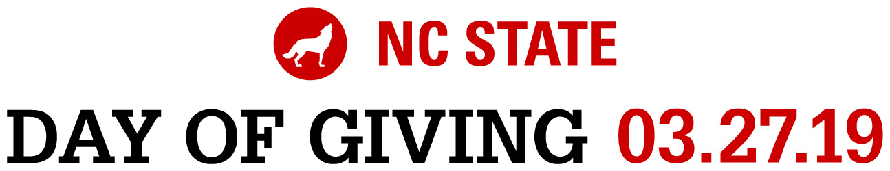Horizontal two color lockup reading NC State Day of Giving 3.27.19