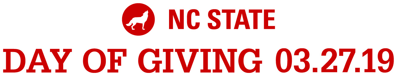 Horizontal red text lockup reading NC State Day of Giving 3.27.19