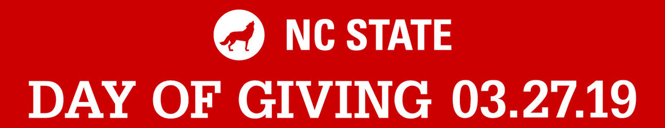 Horizontal white text lockup reading NC State Day of Giving 3.27.19