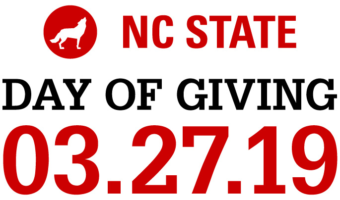 Large Date red and white text lockup reading NC State Day of Giving 3.27.19