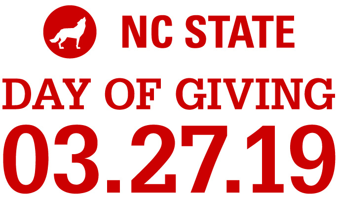 Large Date red text lockup reading NC State Day of Giving 3.27.19