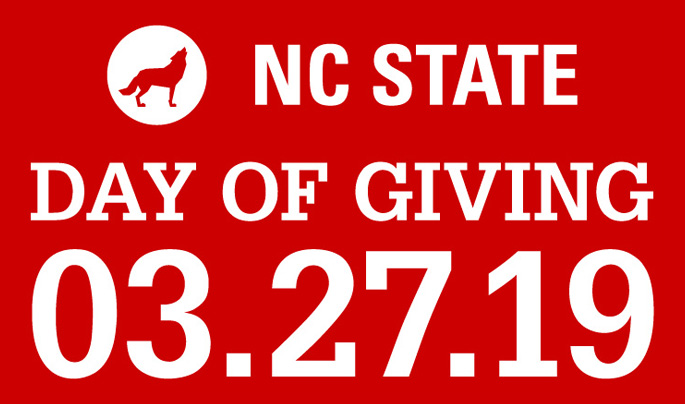 Large date white text lockup reading NC State Day of Giving 3.27.19