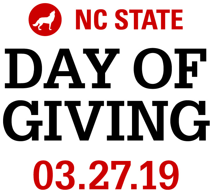 Large Name red and white text lock-up reading NC State Day of Giving 3.27.19