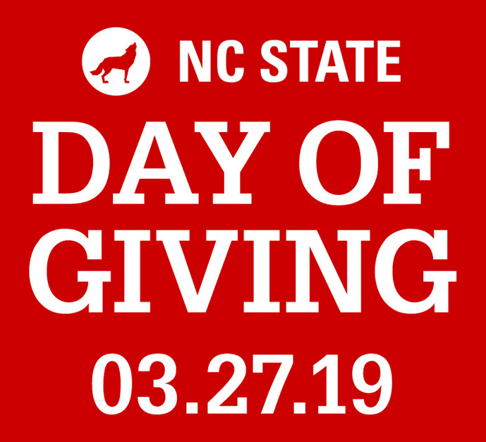 Large Name white text lock-up reading NC State Day of Giving 3.27.19