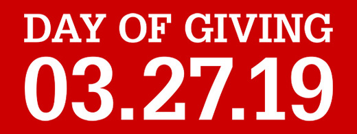 Name Only lockup with white text on red background reading Day of Giving 3.27.19