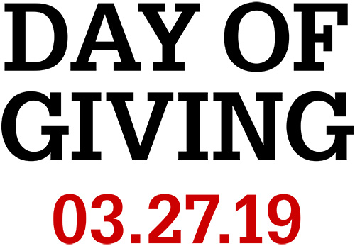 Name Only lockup with red and white text reading Day of Giving 3.27.19