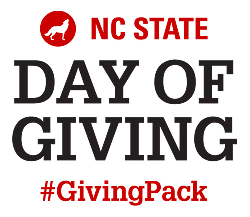 Lockup with red and white text reading NC State Day of Giving Hashtag Giving Pack