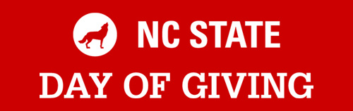 Lockup with white text on red background reading NC State Day of Giving
