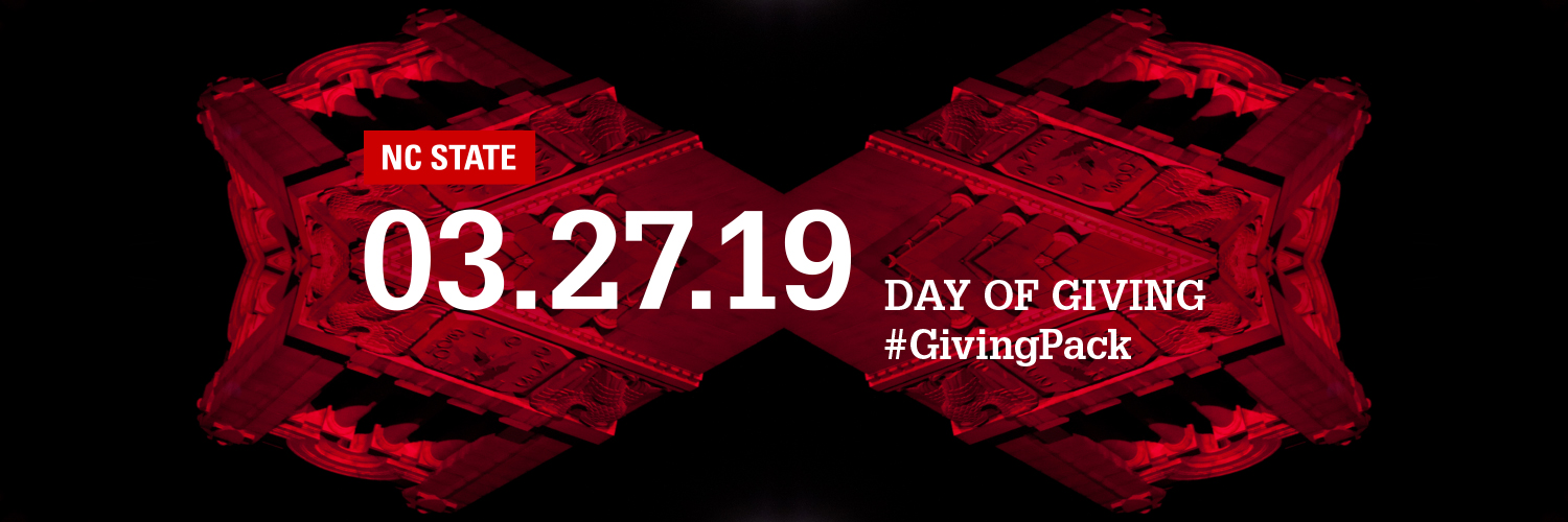 Twitter cover photo with memorial belltower and text reading NC State 03.27.19 Day of Giving Hashtag Giving Pack