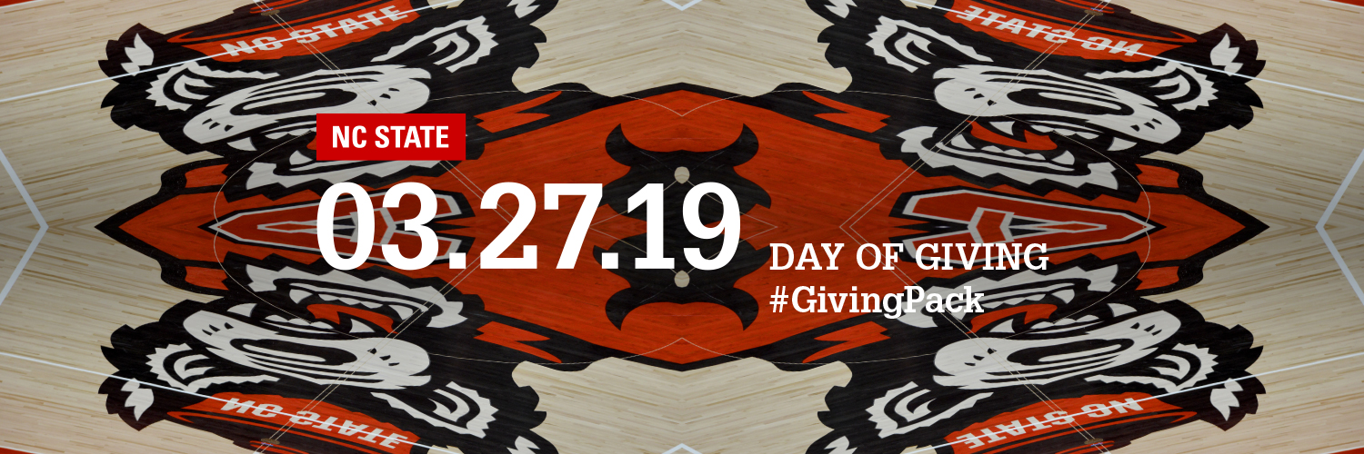 Twitter cover photo with Tuffy logo on Reynolds Coliseum court and text reading NC State 03.27.19 Day of Giving Hashtag Giving Pack