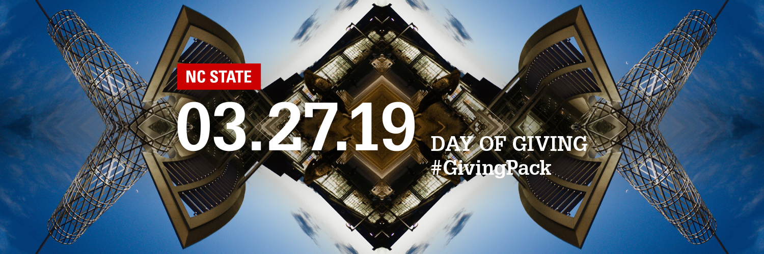 Twitter cover photo depicting the Talley Student Union Technology Tower and text reading NC State 03.27.19 Day of Giving Hashtag Giving Pack