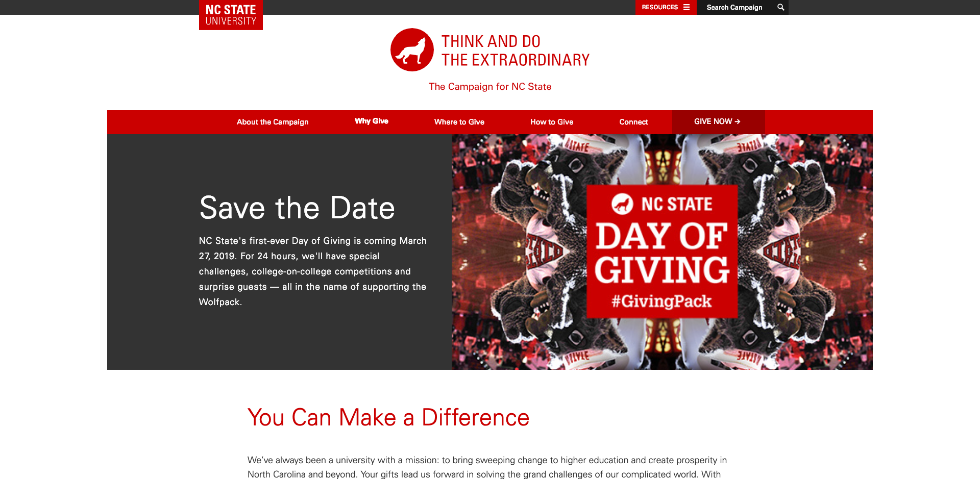 Example of the Day of Giving image used in the header section of a webpage