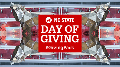 Example of Day of Giving header image with a wolf statue in the background and text reading NC State Day of Giving Hashtag GivingPack